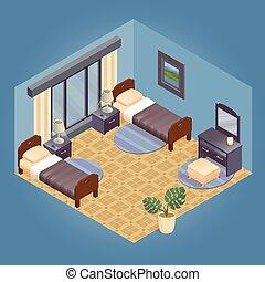 fragment, intérieur, meubles, isométrique, détaillé, set.
