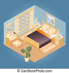 fragment, intérieur, meubles, isométrique, set., vector.