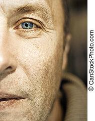 fragment, man, van middelbare leeftijd, gezicht