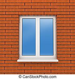 fragment, mur, fenêtre, brique, plastique