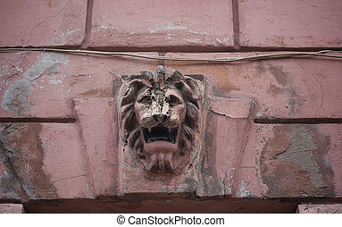 Fragment ncient pink wall with bas-relief  lion's head