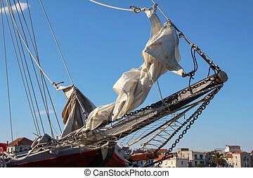 Fragment of a beautiful sailing ship in the Adriatic Sea