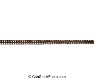 Fragment of a decorative chain of colored metal isolated on a white background.