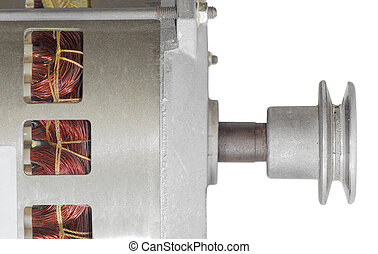 Fragment of a electric motor with pulley closeup
