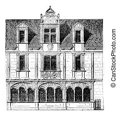 Fragment of a house on Rue Saint-Paul, Paris, demolished in 1835, vintage engraving.