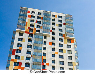 Fragment of a multi-storey residential building under the renovation program. District Northern Tushino, City of Moscow