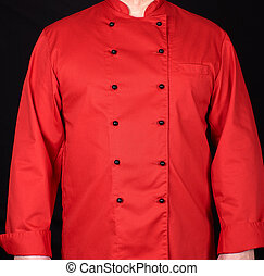 fragment of a red uniform with black buttons on the chef