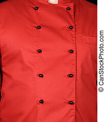 fragment of a red uniform with black buttons