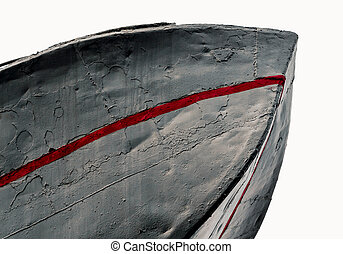 fragment of an old ship on a white background