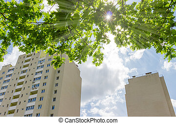 Fragment of apartment buildings against of tree branches and sunbeams