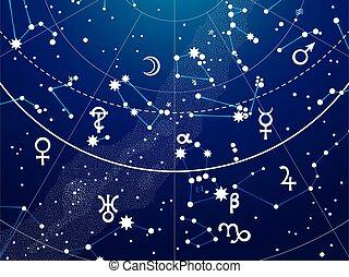 Fragment of Astronomical Celestial Atlas of Night Stars...