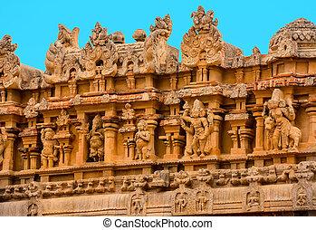 fragment of bas-relief Hindu Brihadishvara Temple, India, ...