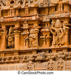 fragment of bas-relief Hindu Brihadishvara Temple, India, Tamil