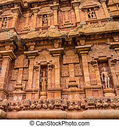 fragment of bas-relief tower Hindu Brihadishvara Temple, India,