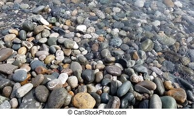 Fragment of Black Sea coast with a pebble beach - Fragment...
