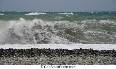 Fragment of Black Sea during the storm - Fragment of the...
