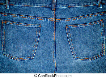 fragment of blue jeans with back pockets