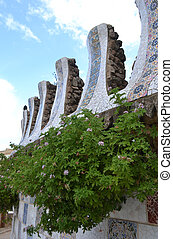 Fragment of building in famous Park Guell