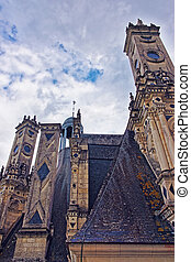 Fragment of Chateau de Chambord palace of Loire valley France