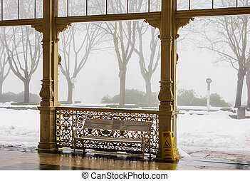 Fragment of Colonnade in spa town Marianske Lazne (Marienbad) Czech Republic.Winter time