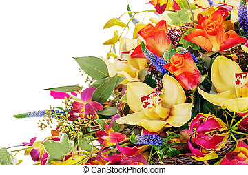 fragment of colorful floral bouquet of roses, cloves and orchids isolated on white background
