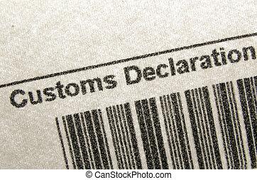 customs declaration - fragment of customs declaration...