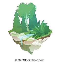 Fragment of forest with a stream isolated on a white background. The flying island. Vector cartoon close-up illustration.