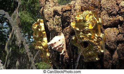 Fragment of fountain in the Summer garden. Saint-Petersburg. 4K.