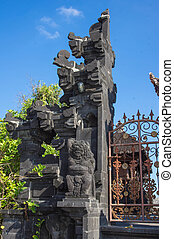 Fragment of gate of the ancient temple. Bali, Indonesia