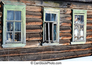 Fragment of house in Russian village.