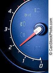 Fragment of instrument panel of car speedometer, tachometer...