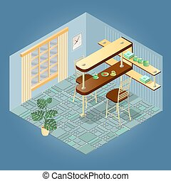 Fragment of interior with  isometric furniture set. Vector.