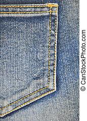 fragment of jeans pocket, closeup.