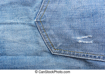 Fragment of material jeans, denim texture background. Pocket.