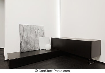 Fragment of modern minimalism style hall interior in black and white tones