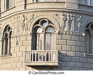 Fragment of old building in St.Petersburg. - Fragment of old...