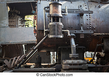 fragment of old steam locomotive