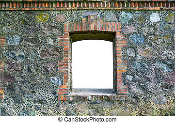 fragment of old stone wall with a window
