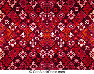 Fragment of ornamental carpet green blue red pink grey violet yellow orange maroon black white turquoise, or abstract surface of tiled rhombus leaves pattern, snowflake texture useful as background