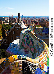 Fragment of Park Guell in winter