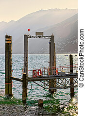 Fragment of Pier in Ascona of Ticino canton in Switzerland -...