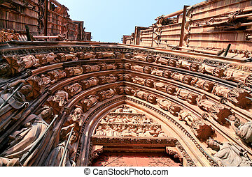 fragment of portal of cathedral in Strasbourg, France