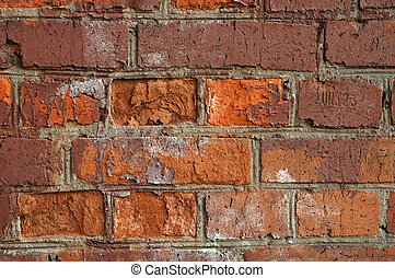 fragment of red old brick textured wall
