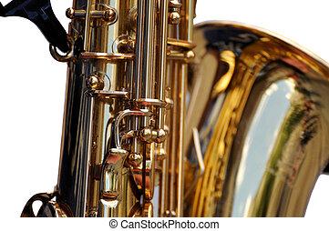 Fragment of  Saxophone on white background.