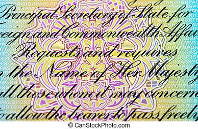 Fragment of text in old British passport