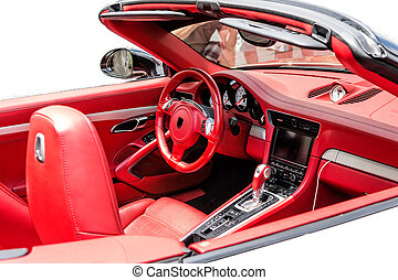 Fragment of the cabin of the red sports car