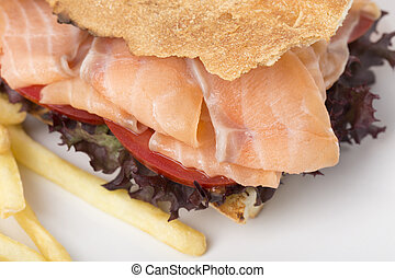 Fragment of the club sandwich with a salmon.