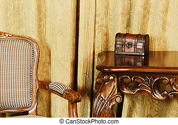 Fragment Of The Interior With Antique Furniture And Coffret...