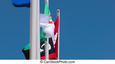 fragment of three flags of the European Union and Tunisia...