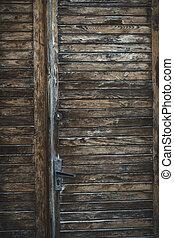 Fragment of wood door in the centre of Lviv